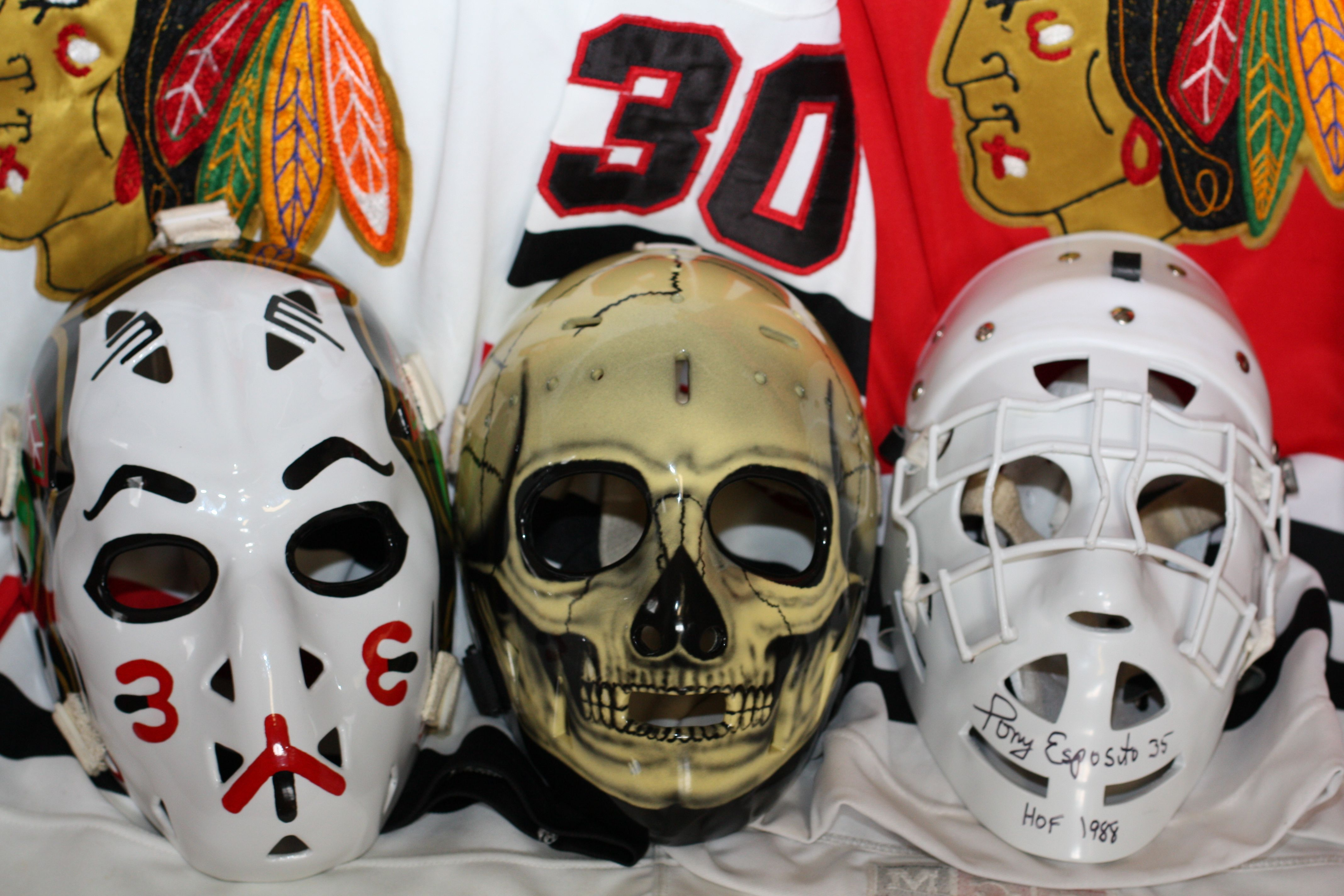 Vintage Goalie Mask Discussion Page Vintage Mask Discussion Bannerman Skorodenski And Esposito Blackhawks Masks Goalie Mask Goalie Hockey Goalie