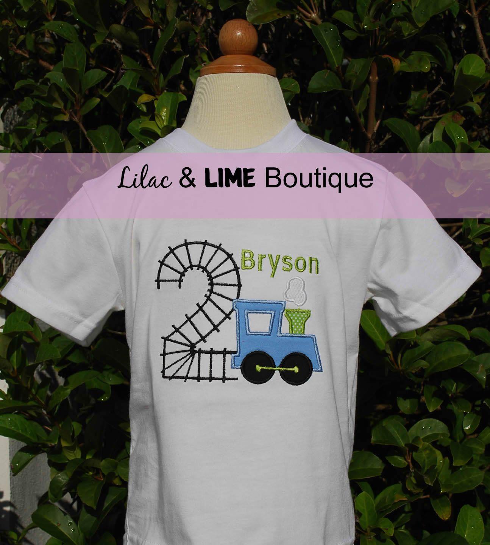 Train-themed Boys Birthday Shirt or Onesie, Personalized. $26.00, via Etsy.