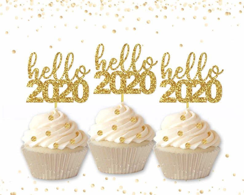 Hello 2020 Cupcake Toppers Happy 2020 New Year Eve New