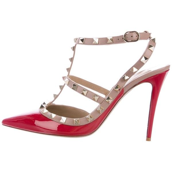 c0057d3a6c94 Pre-owned Valentino Rockstud Ankle Strap Pumps (1.670.315 COP) ❤ liked on Polyvore  featuring shoes