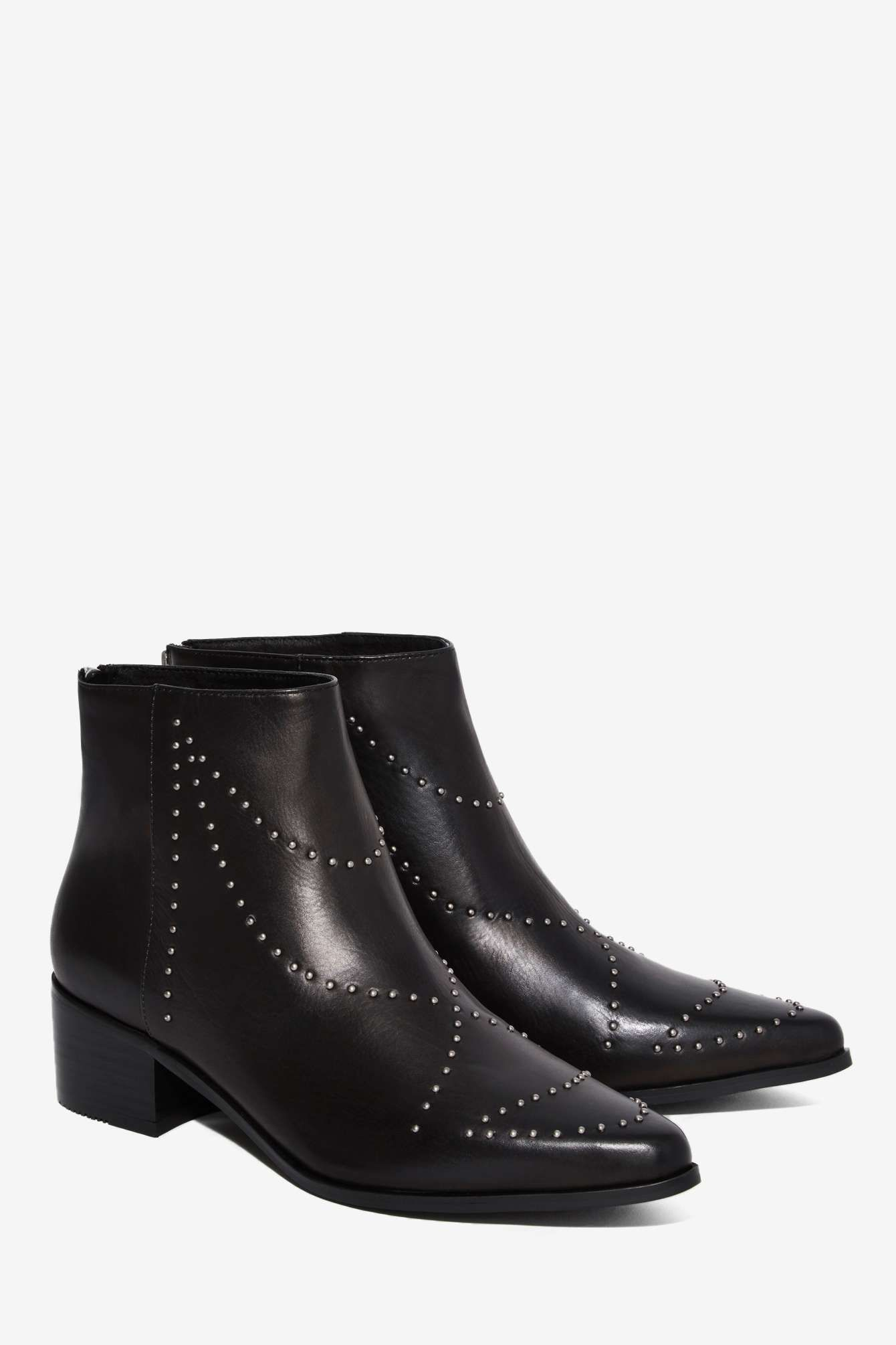Grey City Wendy Studded Leather Ankle Boot | Shop Shoes at Nasty Gal!