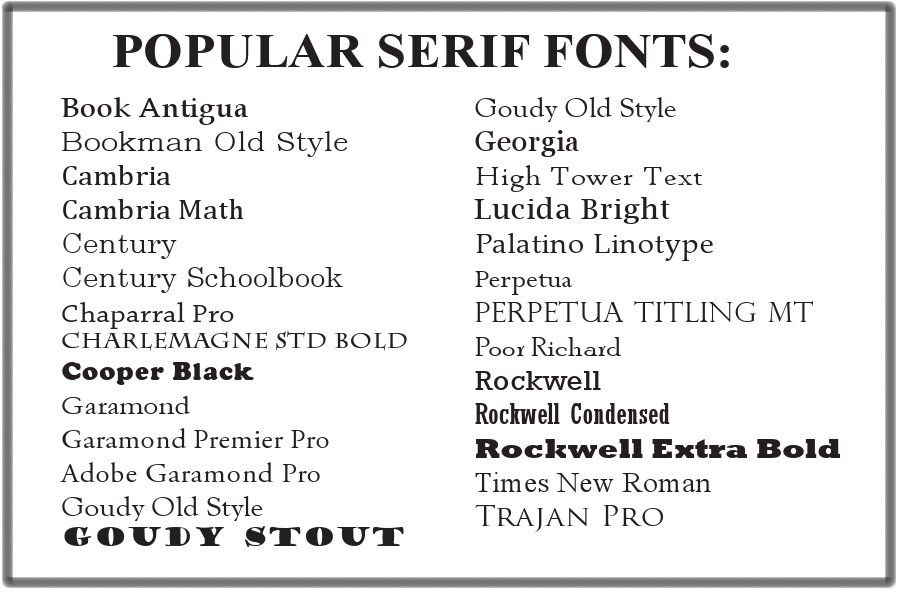 What font choices are there for my text Graphic Design scavenger