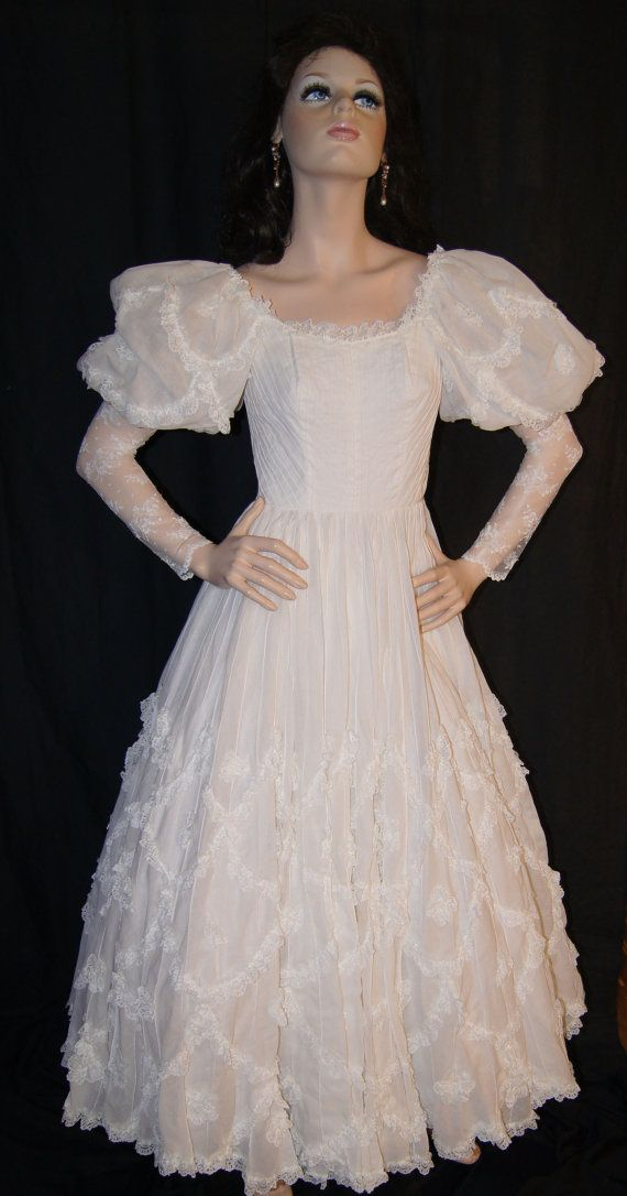 vintage 60s 70s victorian wedding dress ethnic mexican
