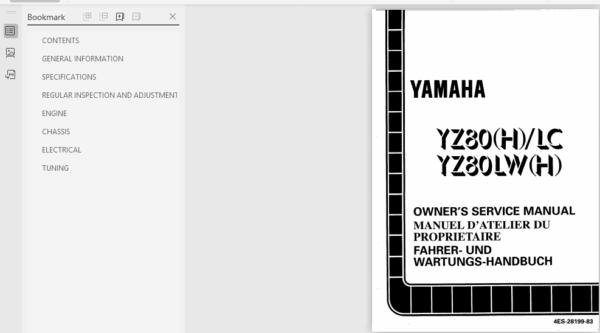 Yamaha Yz80 Service Repair Manual Pdf Download Repair Manuals Repair Manual