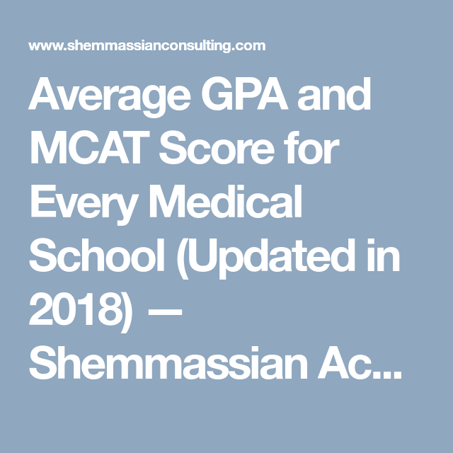 Average GPA and MCAT Score for Every Medical School (Updated