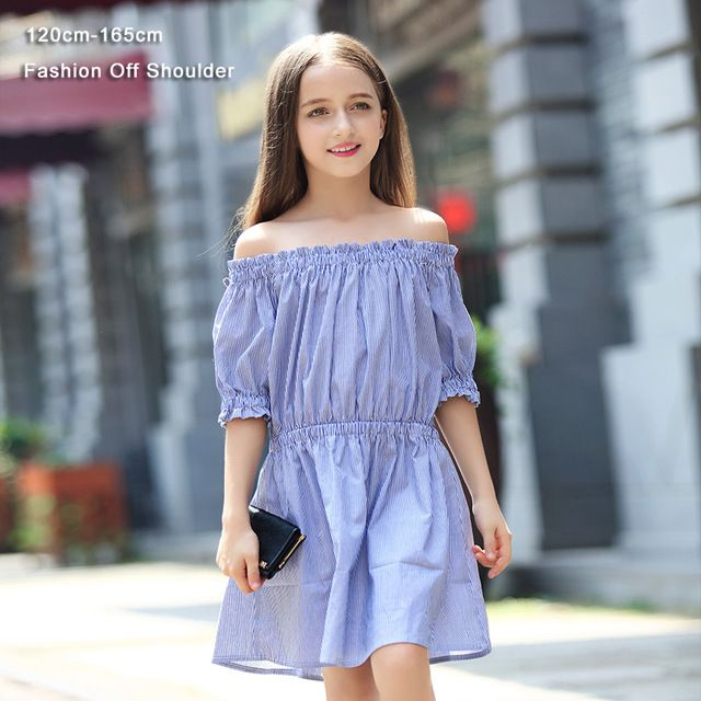 Special price Teen Girls Dress Fashion Off Shoulder Striped Summer Kids  Girls Princess Party Dress 6 7 8 9 10 11 12 13 14 15 years old just only   13.79 ... 300e60e17faf