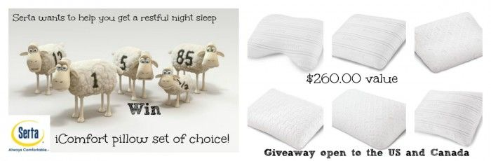 If you haven't found the perfect pillow yet ... No Worries !! Serta is here to help - iComfort Pillow Set giveaway