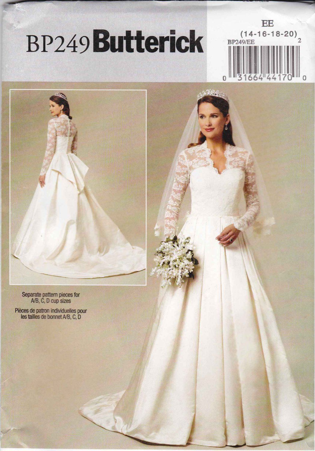 Butterick sewing pattern 249 5731 misses size 6 14 royal for Wedding dress patterns plus size
