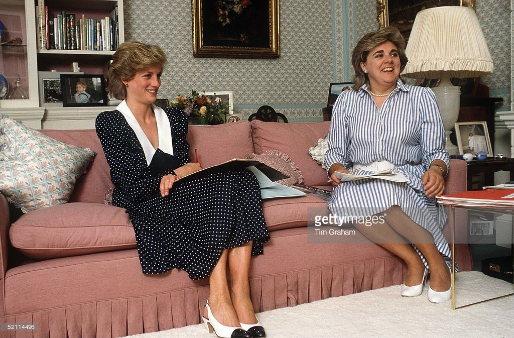 Princess Diana In Her Sitting Room At Home In Kensington Palace With Her Lady-in-waiting Anne Beckwith-smith