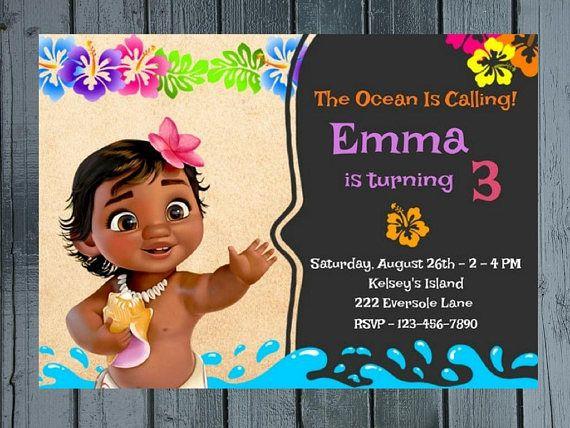 Moana Chalkboard Birthday Party Invitation Theme Baby