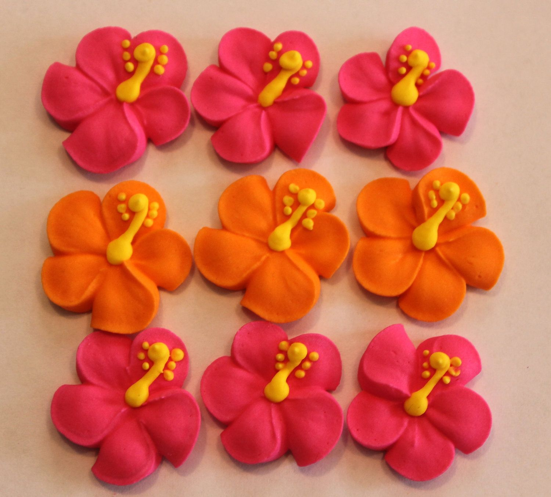 Hibiscus Royal Icing Sugar Flowers Lot Of 100 Cake Decorating