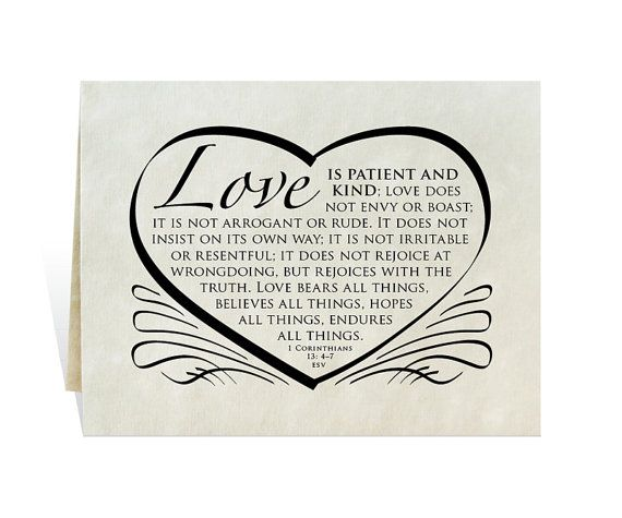 Wedding card, program, invitation, love is patient and kind Bible verse calligraphy, heart, annivers