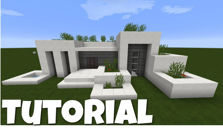 Minecraft Modernes Haus Weißgrau Bauen TutorialAnleitung - Minecraft hauser mit bauplan