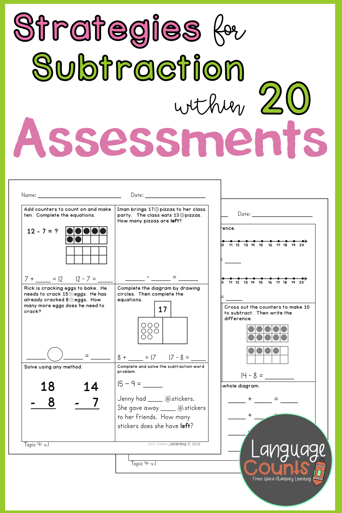 Assess Your Students Mastery Of Addition Strategies To Add Up To 20 With These Two Assessments There Are Two Ve Subtraction Strategies Subtraction Assessment [ 2000 x 1333 Pixel ]