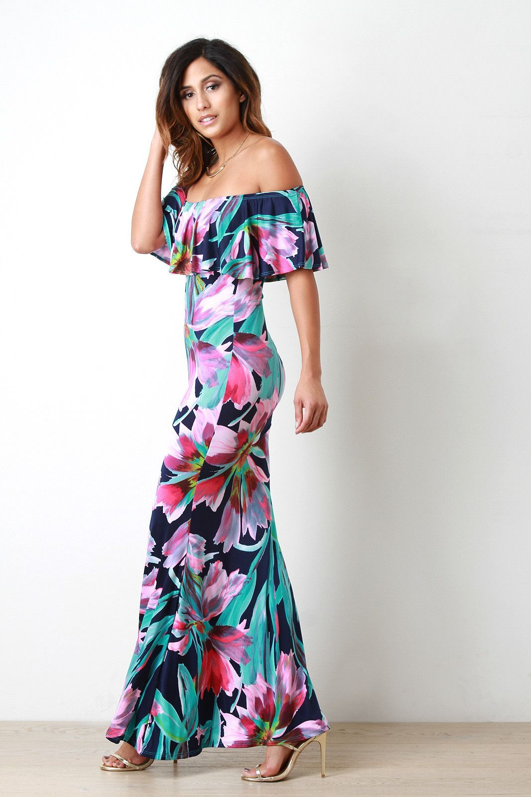 Tropical flower off the shoulder maxi dress products pinterest