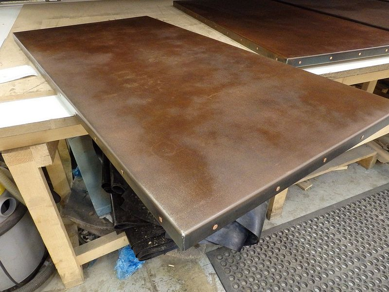 Amazing Rusted Steel With Clear Lacquer Table Top