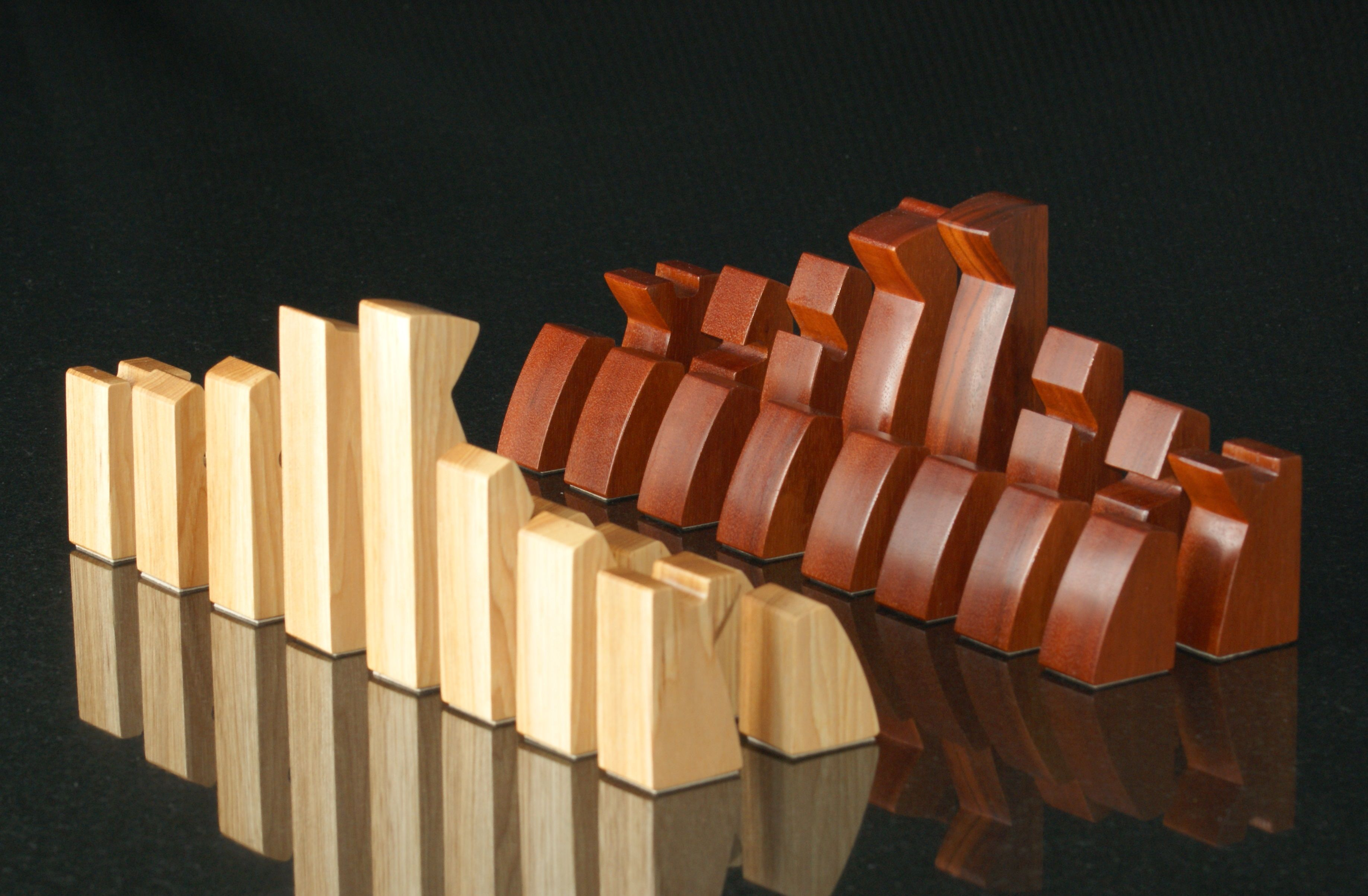 modern chess set by a j doiron hickory amp tigerwood home