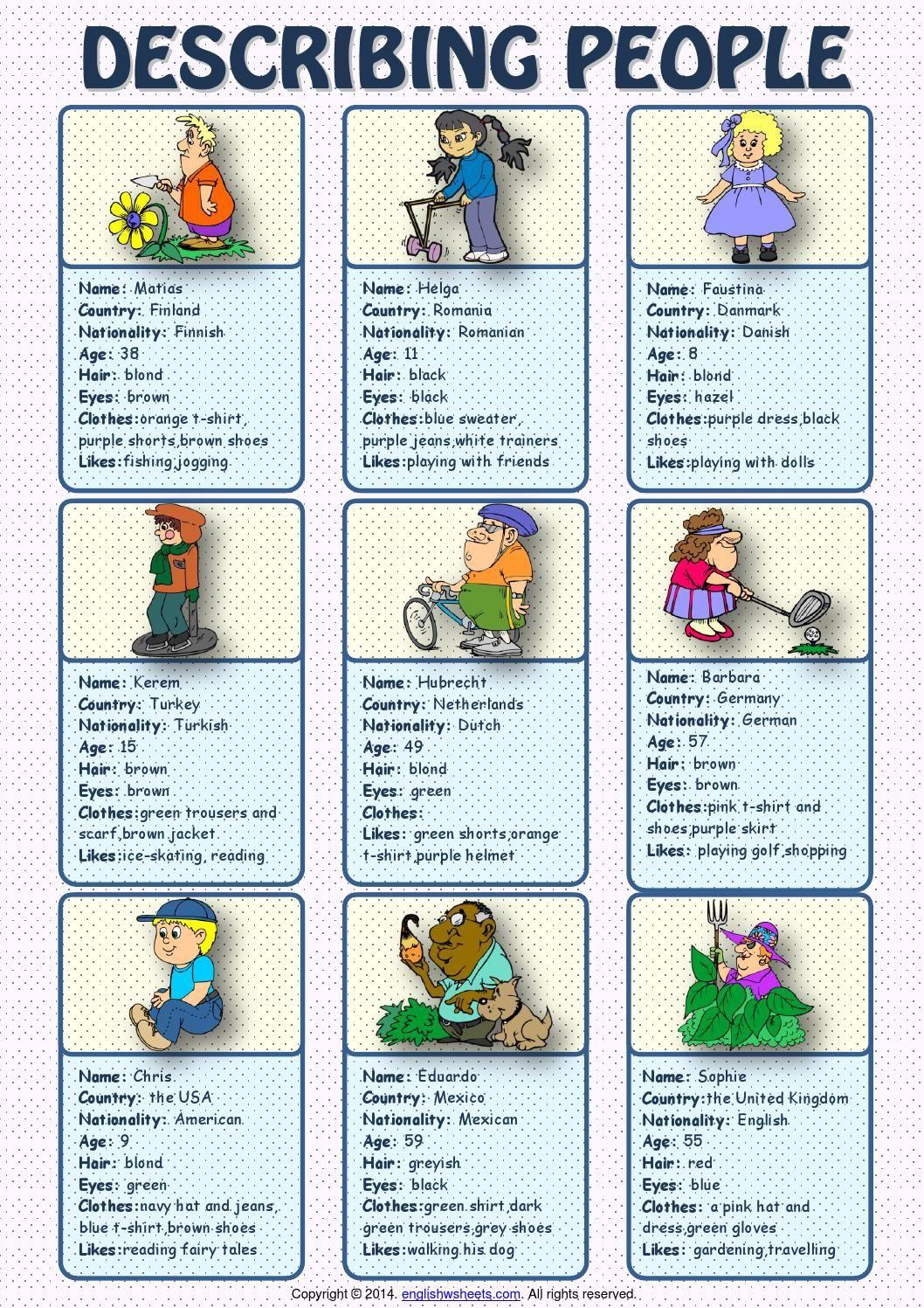 Describing People Esl Speaking Cards Worksheet Speaking Activities Esl English Teaching Materials Speaking Activities English [ 1497 x 1058 Pixel ]