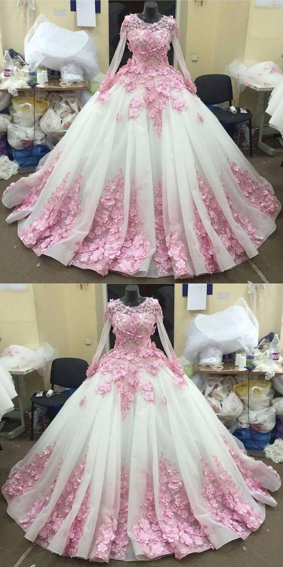 bd78cb2800 Ball Gown Prom Dresses Long Prom Dress Long Sleeve prom dress Lace prom  dress Pink Floral prom dress Luxury prom dress Long Prom Dress cheap prom  dresses ...