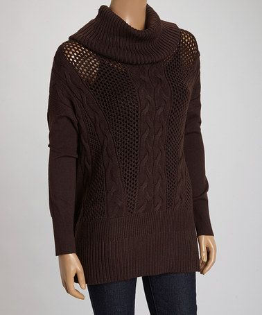 This Espresso Loose Knit Cowl Neck Pullover by ravel is perfect! #zulilyfinds