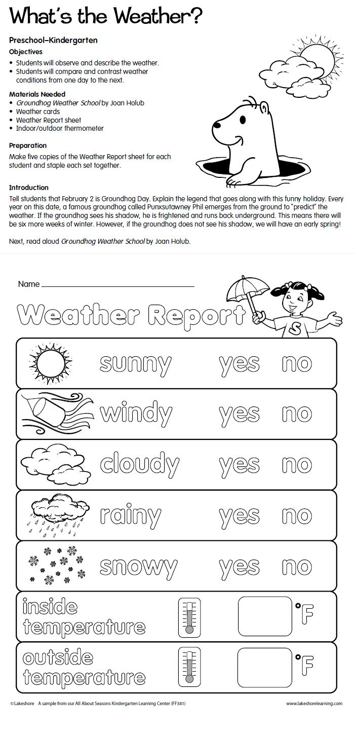 What's the Weather? Lesson Plan from Lakeshore Learning