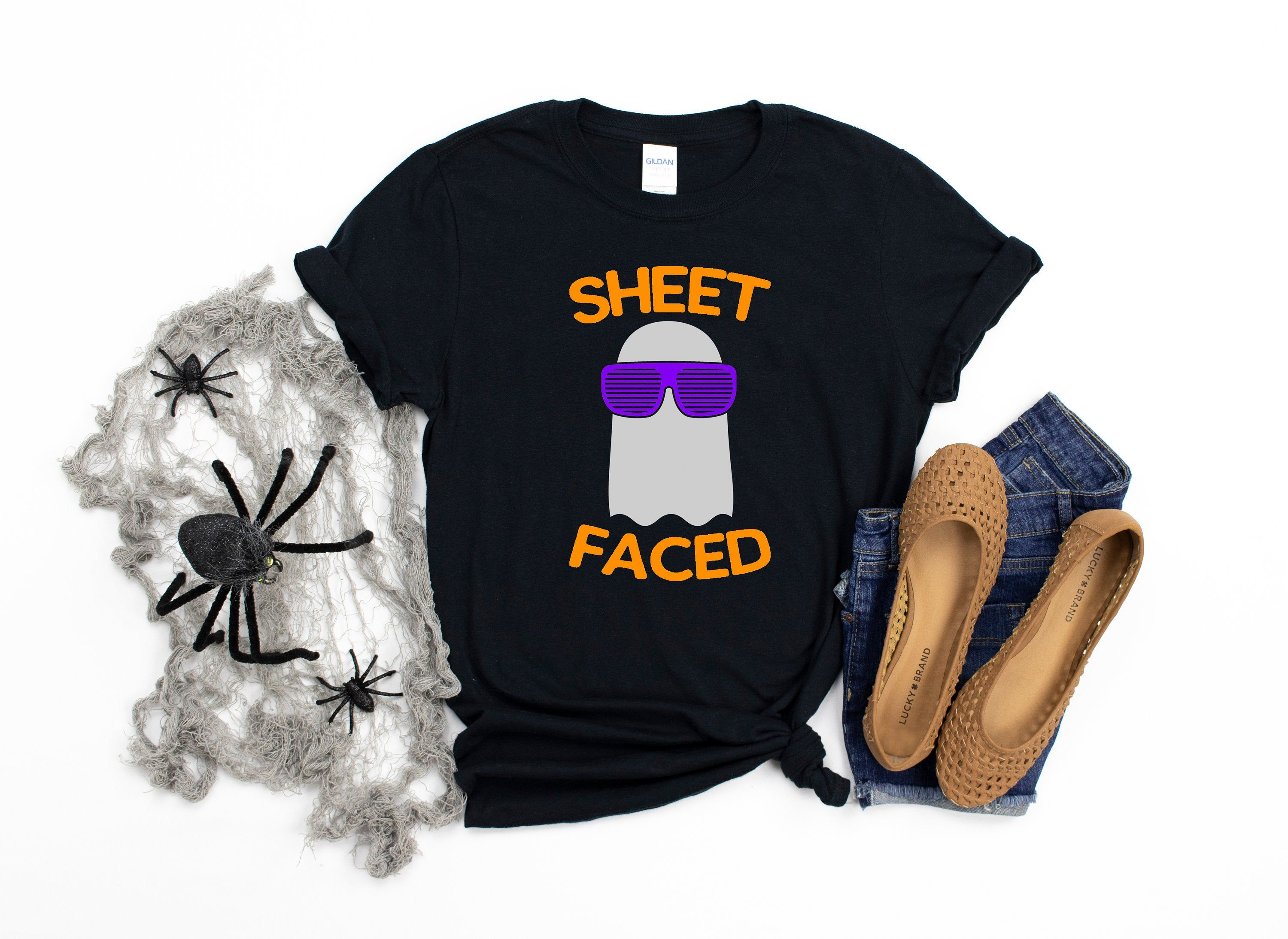 Sheet Faced-Funny Halloween Shirt-Adult Halloween Shirt-Halloween Humor-Halloween Apparel-Adult Apparel-Womens Apparel-Men's Apparel #3dayweekendhumor