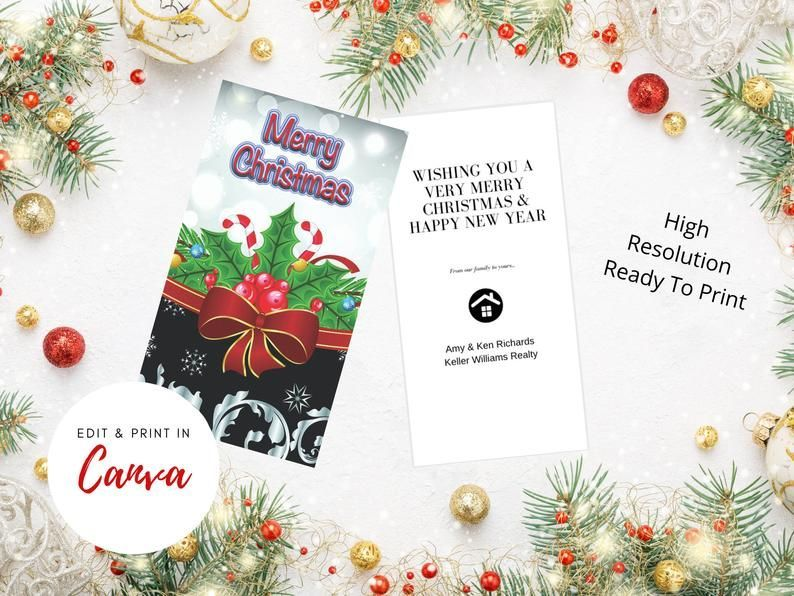 Christmas Card Template Canva Template For Realtors Etsy Christmas Card Template Card Template Christmas Cards