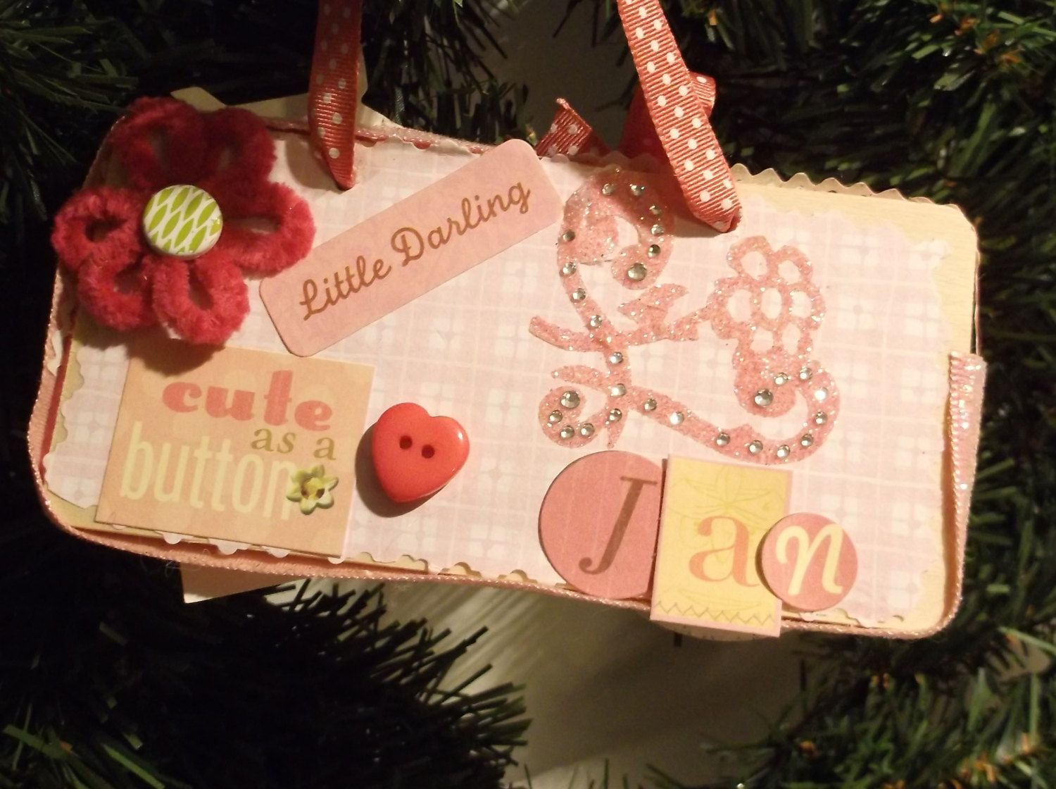 Cute as a Button Ornament for Baby Girl's First Christmas by WhiteSquirrelGifts on Etsy
