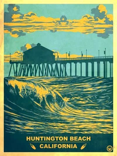 Vintage Huntington Beach Poster Art Print By Jon Hernandez