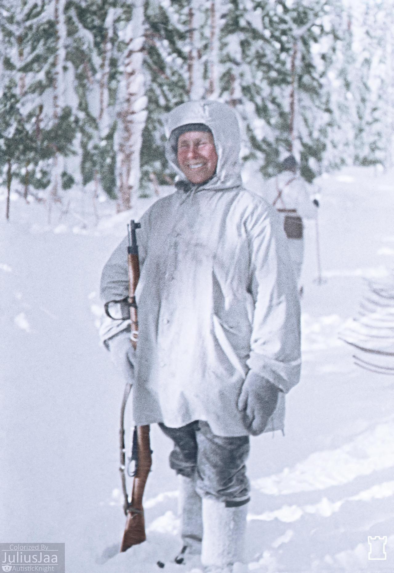 Finnish Sniper Simo Hayha In Loimola Finland February 1