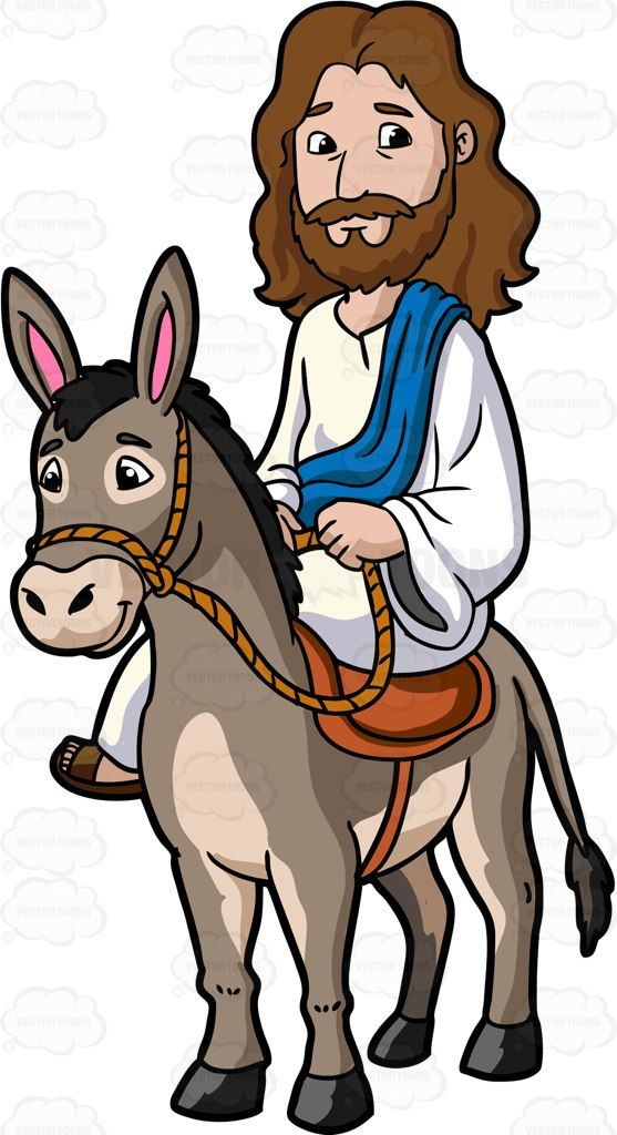 Jesus Riding A Donkey: Cartoon image of Jesus Christ with long ...