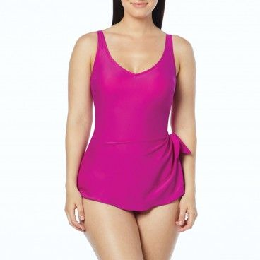 ad946f4855d87 Roxanne V-Neck Sarong One Piece Swimsuit – Solids