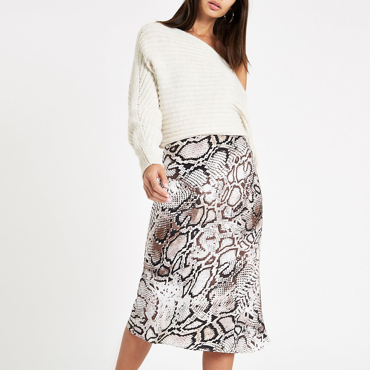 modern style info for luxuriant in design Grey snake print bias cut midi skirt | Wear2Shine Skirts in ...