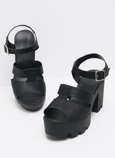 817b52024 Sandália Salto Alto Grosso Tratorado | Shoes em 2019 | Saltos ...