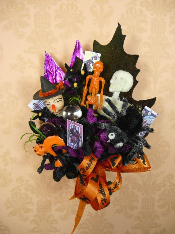 Vintage Halloween Corsage Spun Cotton Witch Spider Skeletons Vintage Halloween Halloween Ribbon Greeting Card Image