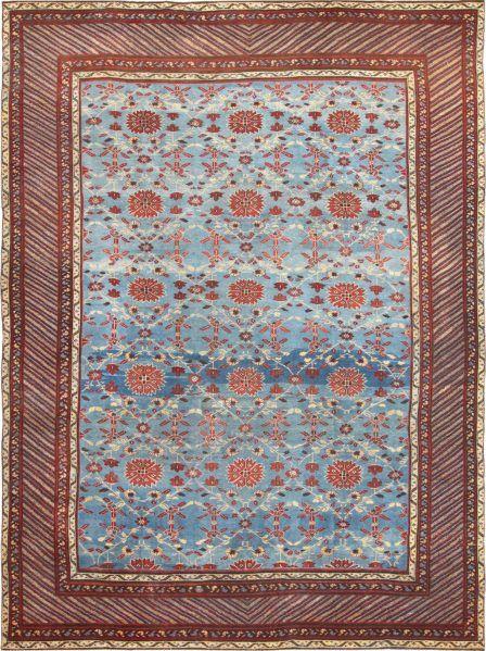 Light Blue Room Size Antique Indian Rug (48823)