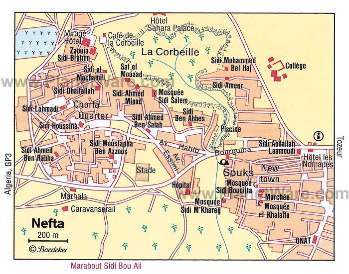Map of Nefta Attractions PlanetWare Traversing Tunisia