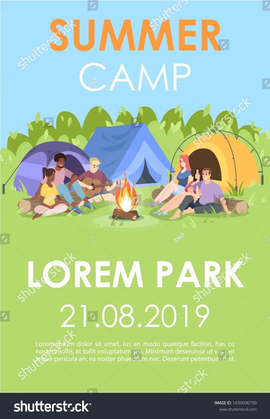 Summer camp brochure template. Outdoor recreation flyer