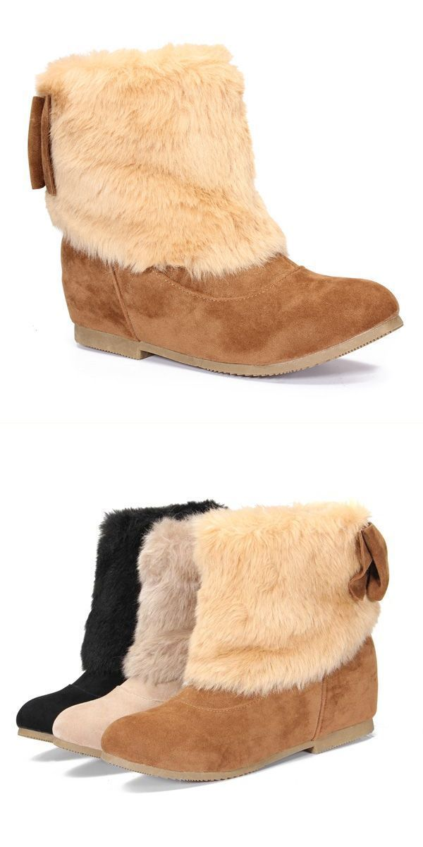 Women 8217 S Warm Suede Short Flat Ankle Snow Boots Elevator Shoes R Bootstrap