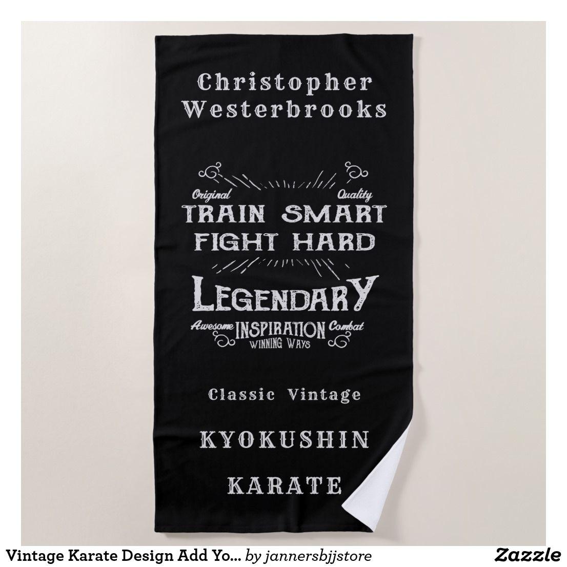 Vintage Karate Design Add Your Name Dojo Gym Beach Towel Zazzle