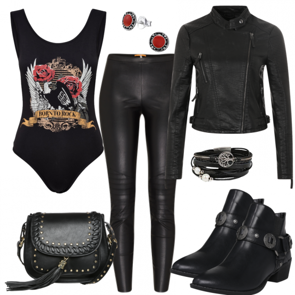 Freizeit outfits born to rock bei dieses outfit f r damen ist ideal f r frauen - Rockabilly outfit damen ...