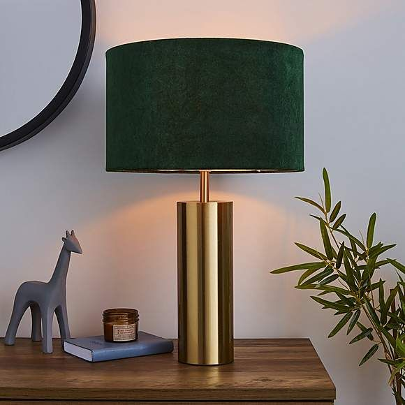 Nesa Velvet Touch Table Lamp Brushed Gold And Bottle Green In 2020 Table Lamps For Bedroom Gold Table Lamp Table Lamps Living Room