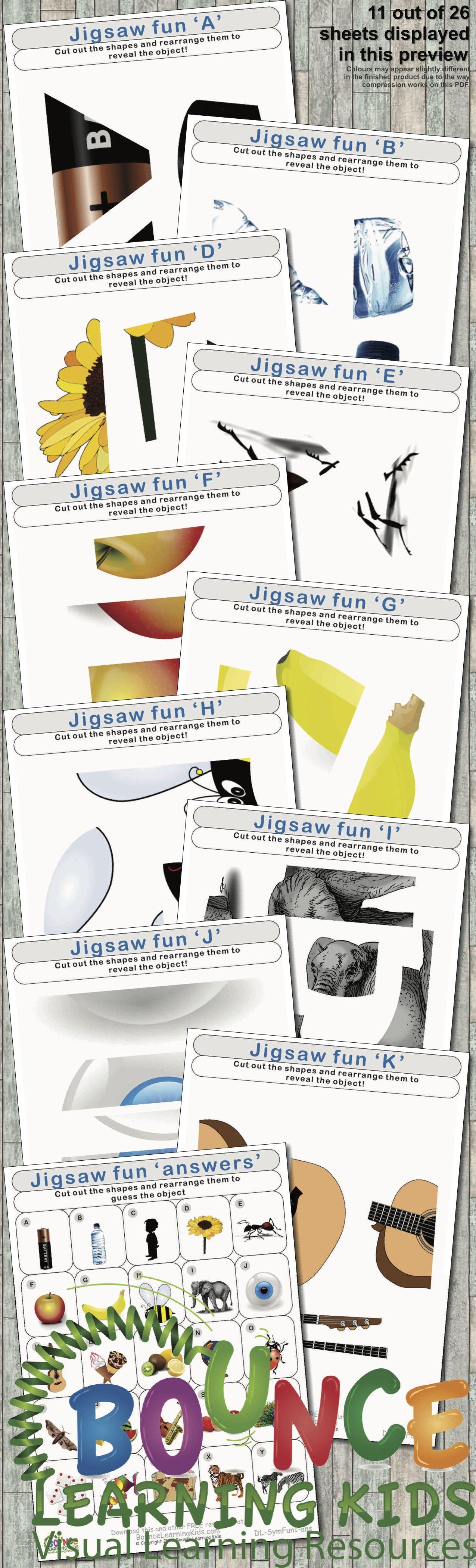 Jigsaw Fun 26 Hand Eye Coordination Sheets