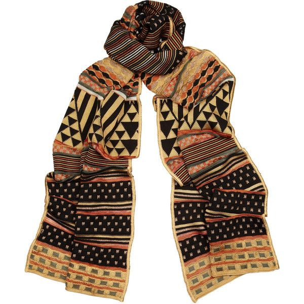M Missoni Patterned knit scarf ($185) ❤ liked on Polyvore featuring accessories, scarves, multi colored scarves, colorful scarves, colorful shawl, missoni shawl and missoni scarves