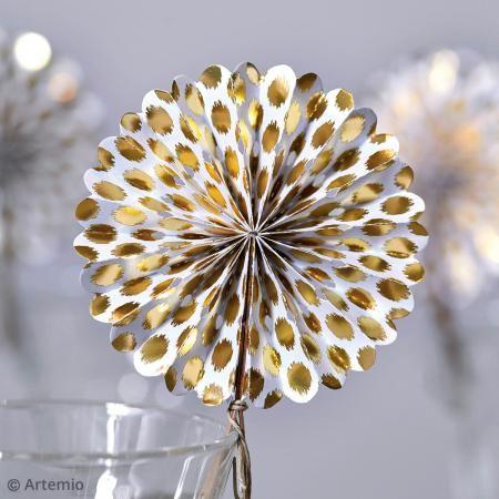 Abanicos rosetón de papel - Dorado - 6 pcs - Fotografía n°3
