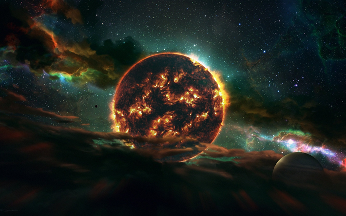 Download Wallpapers Fire Planet Solar System Galaxy