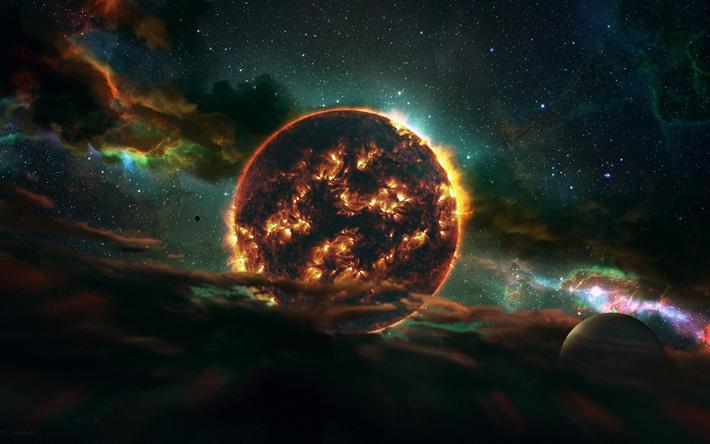 Telecharger Fonds Decran Le Feu De La Planete Systeme Solaire La Galaxie Planetes Univers Sci Fi
