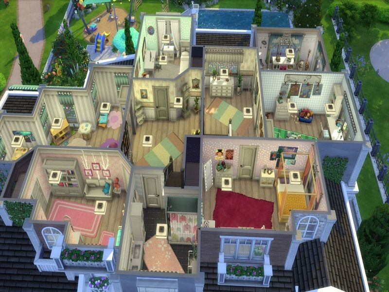 This Large Family Home Can Accommodate More Than 8 Sims It Has 3 Floors And A Large Basement Found I Sims House Design Sims 4 Family Sims 4 House Building