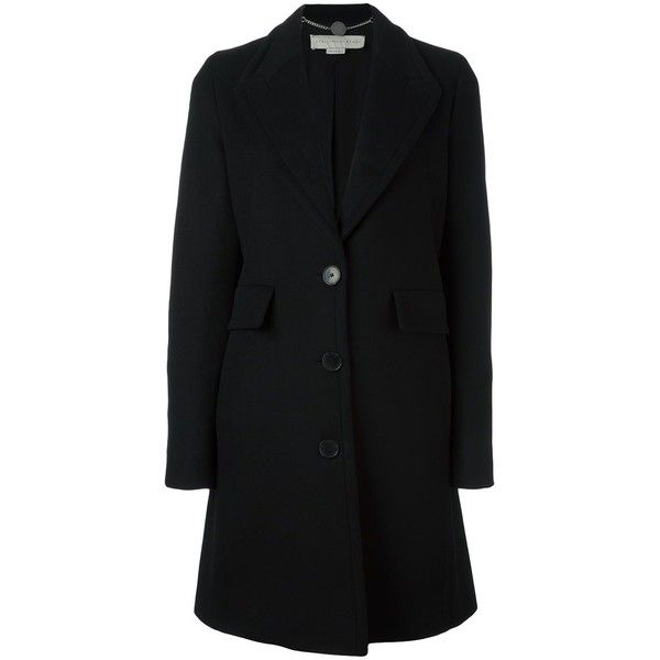 Stella McCartney classic button-up coat (€1.390) ❤ liked on Polyvore featuring outerwear, coats, black, long sleeve coat, stella mccartney, stella mccartney coat, button down coat and button up coat