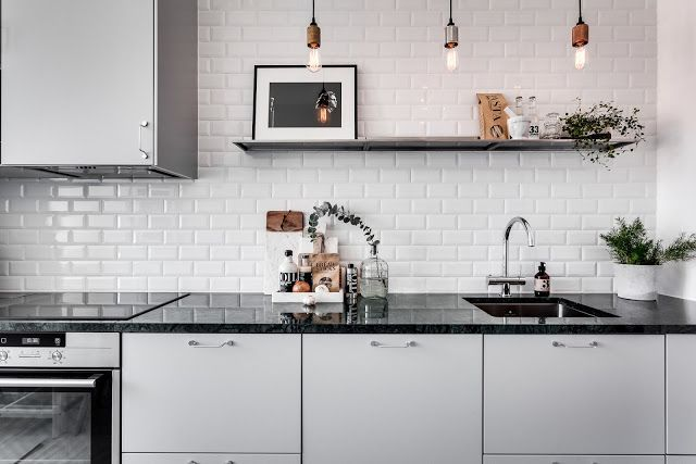 I love metro tiles, you can use it both in the kitchen or in the bathroom, the look is so classic you will not get tired of it for years to come!    Easy way of creating anindustrial look is using E